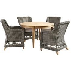 Ballard Designs Laurel 5-Piece Round Dining Set (3,725 CAD) ❤ liked on Polyvore featuring home, outdoors, patio furniture, outdoor patio sets, 5 piece dining sets, outdoor patio furniture, 5 piece outdoor dining set, round outdoor dining set and round dining sets