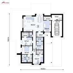 Zx96 D to wyjątkowy dom z kategorii projekty domów z czterema pokojami Floor Plans, Diagram, Design, Home, Design Comics