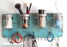 New diy makeup holder organizations mason jars 29 ideas Diy Makeup Organizer, Makeup Storage Organization, Storage Organizers, Bathroom Organization, Organization Ideas, Storage Ideas, Shelf Organizer, Makeup Holder, Bathroom Storage