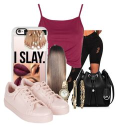 """""""I slay"""" by kidwitcurls ❤ liked on Polyvore featuring Topshop, Casetify, MICHAEL Michael Kors and Anne Klein"""