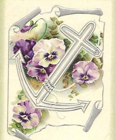 Purple Pansies with Cross and Anchor on Vintage by TheOldBarnDoor, $4.00