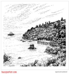 Trinidad Head Pier, Ink Drawing Series Art Print 12x12 by Buzz Parker by GardenMansion on Etsy https://www.etsy.com/listing/233158658/trinidad-head-pier-ink-drawing-series
