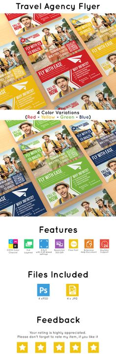 Travel Agency Flyer is a unique and modern way to express your business in modern and stylish way. With 4 different color variations (Blue – Green – Red – Yellow) and flat modern style you can your empower your business exposure. Travel Agency Flyer is a high quality and pixel perfect design. The template is customizable and very easy to edit. Just drag and drop your QR code, your image and your logo in smart vector objects easily.  Download here http://bit.ly/TravelAgencyFlyer