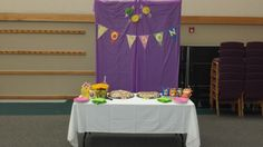 Food Table, London's Banner at the Candy Land First Birthday Party
