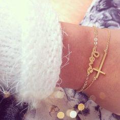Delicate gold bracelets.