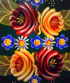 Canal Boat Art - it's the band of flowers across the middle I'm after for my design Castle Painting, Boat Painting, Folk Art Flowers, Flower Art, Truck Art Pakistan, Canal Boat Art, Canal Barge, Contemporary Decorative Art, Norwegian Rosemaling