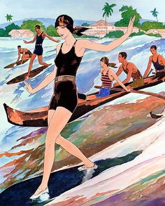 Vintage Hawaiian Art And Postcards - Surfing ...