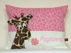 "Namenskissen - Namens Kissen ""Giraffe in Rosa"" - ein Designerstück von Julies-Place bei DaWanda Backrest Pillow, Designer, Throw Pillows, Vintage, Baby, Pink, Craft Gifts, Handarbeit, Deco"