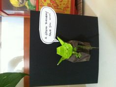 Birthday card inspired by origami paper yoda books. Fumiaki kawahata has a great tutorial on you tube.
