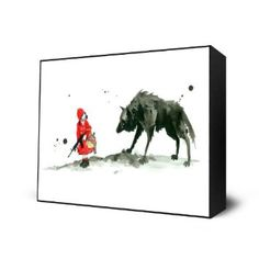 Red Riding Hood Art Block Print - 10 X 12 inches by Lora Zombie