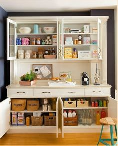 I want a large buffet/console piece like this. Kitchen Storage Solutions, Kitchen Organization, Craft Room Storage, Storage Spaces, Kitchen Cupboard Doors, Wall Pantry, Dinning Chairs, Home Hardware, Cabinet Design
