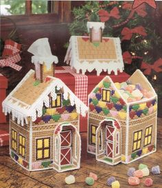 Gingerbread House Candy Box Or Tissue Cover Plastic Canvas Pattern - Christmas Decor Pattern Plastic Canvas Ornaments, Plastic Canvas Tissue Boxes, Plastic Canvas Christmas, Plastic Canvas Crafts, Plastic Craft, Plastic Canvas Stitches, Plastic Canvas Patterns, Gingerbread House Candy, Gingerbread Ornaments