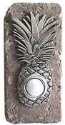 Pineapple Doorbell Cover in Pewter on Narrow Stone - 360 Yardware: Your Source for Contemporary Gate Hardware and More! Doorbell Cover, Fall Candles, Reno, Tropical Decor, Door Knockers, Florida Home, Stone Tiles, Pomellato, Curb Appeal