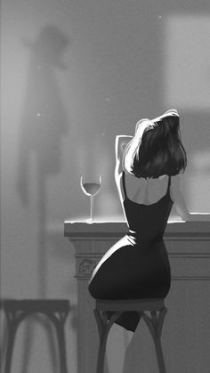 Midnight drink... #girlillustration / Bibita di mezzanotte... #illustrazioneragazza - Art by Mike Redman