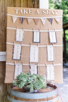 Ohhhhh. Very simple and easy seating chart that would be DIY. Inexpensive to make!