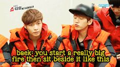 "Lay: ""What is a 'campfire'?""  Baekhyun's (EXO) awesome description.  (.gif set). So adorable :3 <3"