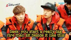 """Lay: """"What is a 'campfire'?""""  Baekhyun's (EXO) awesome description.  (.gif set). So adorable :3 <3"""
