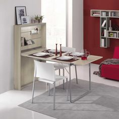 Intent extending space-saving console table which can become a desk, a table, an ironing kit. Cheap Dining Tables, Affordable Furniture, Online Furniture, Consoles, Table Measurements, Modern Hallway, European Furniture, Small Dining, Office Home