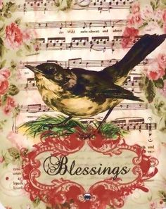 Tags Vintage Bird Blessings by Bluebird Lane