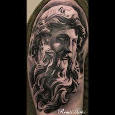 Religious Statues Tattoo Black And Grey by Remistattoo on DeviantArt Tattoo Hurt, Tattoo Skin, Tattoo Now, Beautiful Tattoos, Cool Tattoos, Archangel Tattoo, Statue Tattoo, Detailed Tattoo, Black And Grey Tattoos