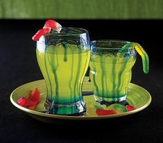 Hocus-Pocus Punch Recipe. What you need:  6 cups lemonade  2 cups lemon-lime soda  Green, red, and blue food coloring  1/3 cup light corn syrup  Gummy worms