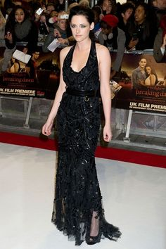 In a Roberto Cavalli spring/summer 2012 gown at the London premiere of the latest Twilight film, Breaking Dawn – Part 1.