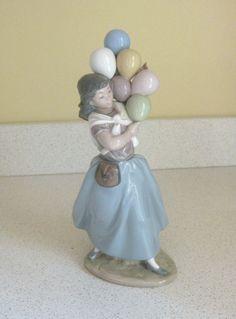 lladro balloon girl African American Figurines, Halloween Miniatures, Spiritual Quotes, Bone China, Valencia, Balloons, Collage, Dolls, Crystals