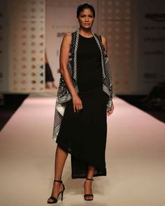 Black and White Aari Embroidery Cape - Kavita Bhartia - Amazon India Fashion Week SS '16 - Off The Runway