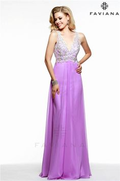 Long V Neck Lace Faviana S7504 Cheap Prom Dresses 2015