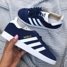 Shop Women's adidas Blue White size 6 Sneakers at a discounted price at Poshmark. Adidas Gazelle Outfit, Adidas Gazelle Women, Adidas Shoes Women, Adidas Outfit, Blue Adidas Shoes, Adidas Superstar, Blue Sneakers, Blue Shoes, Adidas Sneakers