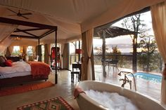 Elephant Camp, suite interior, 2012 Safari Awards finalist, Best New Safari Camp in Africa Cool Places To Visit, Places To Go, Chutes Victoria, Les Seychelles, Elephant Camp, Chobe National Park, Luxury Tents, Luxury Glamping, Viewing Wildlife