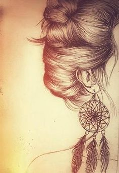 drawing girl Black and White hippie feathers dream catcher messy hair messy bun