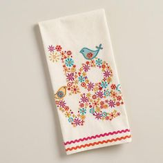 One of my favorite discoveries at WorldMarket.com: Embroidered Love Birds Kitchen Towel