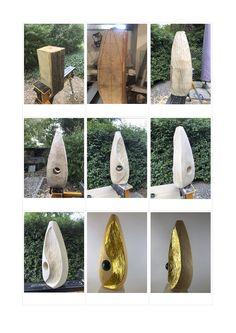 """""""GoldBlick"""": Holz Skulptur aus Linde, geölt und z.T. mit 24 Karat Blattgold vergoldet. Weitere Skulpturen aus Holz und Stein des Bildhauers aus Köln, z.T. vergoldet mit 24 Karat Blattgold sind auf meiner website zu sehen. www.skulptur-koeln.de"""