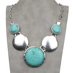 Vintage Tibet Silver & Natural Turquoise Necklace $32.99 ƸӜƷ  http://www.facebook.com/MarisolBling