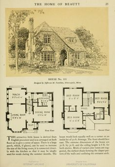 From The Home Of Beauty The American Face Brick Association House No. 111 image of page 23 Sims House Plans, Small House Plans, Cottage Floor Plans, House Floor Plans, Cottage Plan, Sims Building, Building A House, Storybook Homes, Casas The Sims 4