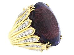 Amethyst and Diamond Ring in 18K