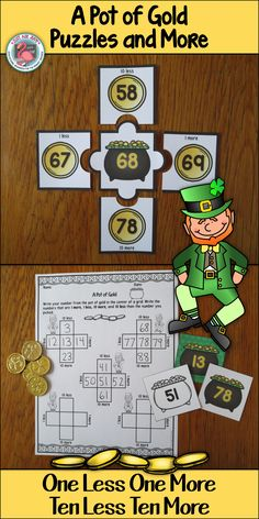 This engaging St. Patrick's Day themed resource provides practice or review for the concept of one less/ more and ten less/ more for numbers 0-120. $ Grades 1-2