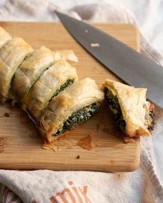This recipe has become a staple in our home because it is pretty simple and really delicious. If you can't find Lacinto kale, it tastes just as good with green kale. Also, don't panic about working with the phyllo its not as hard as it seems. Kale Recipes, Wrap Recipes, Greek Recipes, Vegetarian Recipes, Cooking Recipes, Appetizer Recipes, Party Appetizers, Comfort Food, International Recipes