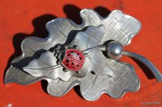 Vintage Carl-Art 925 Sterling Silver and Enamel Ladybug on a Leaf Brooch Pin