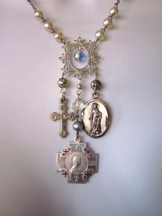 Religious Charm Necklace Vintage Medals