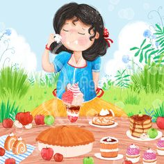 Snow White - children illustration by Sofia Cardoso #illustration #kidlitart