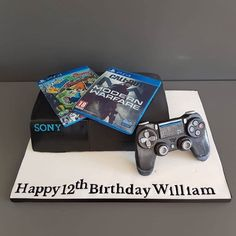 A console of cake, topped with their favourite games that are edible printed artwork covers. This design includes a hand crafted controller. Order this and more in Shoreham-by-Sea and surrounding West Sussex. 12th Birthday, Birthday Cakes, Little Cakes, Artwork Prints, Console, Sea, Printed, Games, Handmade