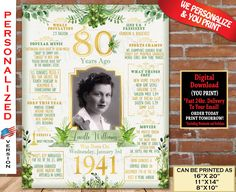 80th Birthday Poster, 1941 Birthday Party Decoration Sign, 80th Birthday Gift for Woman or Man- Back in Year 1941 Personalized Digital File 90th Birthday Parties, Birthday Party Design, Great Birthday Gifts, Birthday Gifts For Women, Birthday Fun, Birthday Party Decorations, Birthday Signs, Birthday Crafts, Birthday Ideas