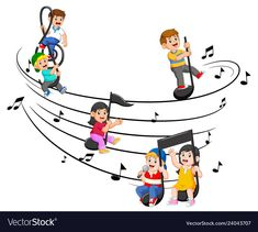 Happy children riding music notes vector image on VectorStock Grammar Book, Music For Kids, Single Image, Cartoon Kids, Drawing For Kids, Happy Kids, Music Notes, Free Vector Images, Art Dolls