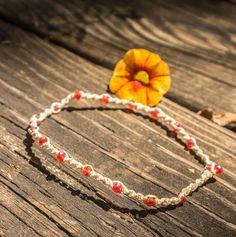 Faceted Orange Spiral Knot Anklet by JaiMichelleR on Etsy