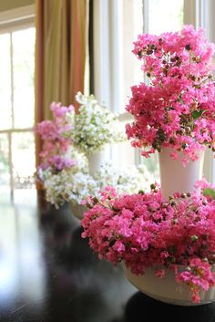 Floral Display in White Milk Glass - Using Crepe Myrtle Floral Centerpieces, Wedding Centerpieces, Floral Arrangements, Wedding Decorations, Flower Arrangement, Wedding Ideas, Dollar Tree Vases, Myrtle, Milk Glass