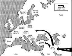 Le tappe principali dell'arrivo dei Rom e dei Sinti in Europa occidentale Europe, Northern Italy, High Middle Ages, Slovenia, Finland, Greece, Sevilla Spain, France, Rome