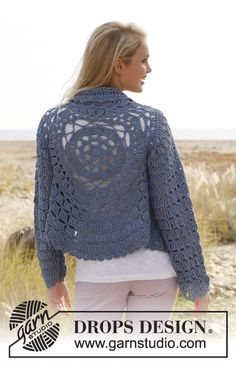 "Crochet DROPS jacket worked in a circle with lace pattern and long sleeves in ""Paris"". Size: S - XXXL. ~ DROPS Design"