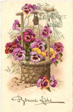 Art Floral, Floral Vintage, Vintage Flowers, Vintage Prints, Vintage Greeting Cards, Vintage Ephemera, Vintage Paper, Vintage Postcards, Vintage Pictures